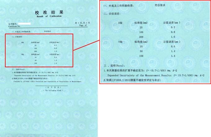 万能工具显微镜校准证书结果页图片